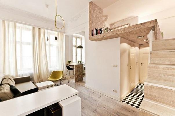 Светлая окраска всех зон в маленькой квартире