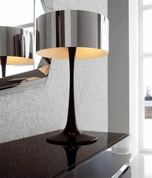 Лампа с зеркальным абажуром