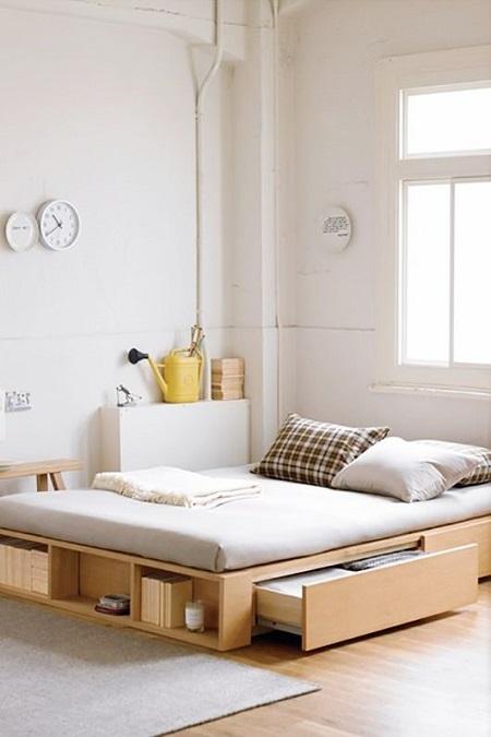 Кровать без изголовья и с ящиками для хранения