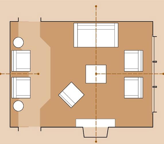 Планировка гостиной с несколькими локальными осями