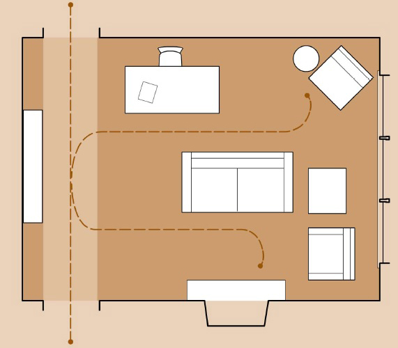 Планировка гостиной без осей симметрии