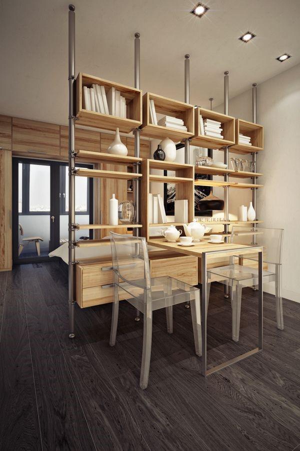 Прозрачные стулья в маленькой квартире