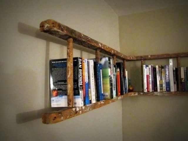Лестница в качестве книжных полок