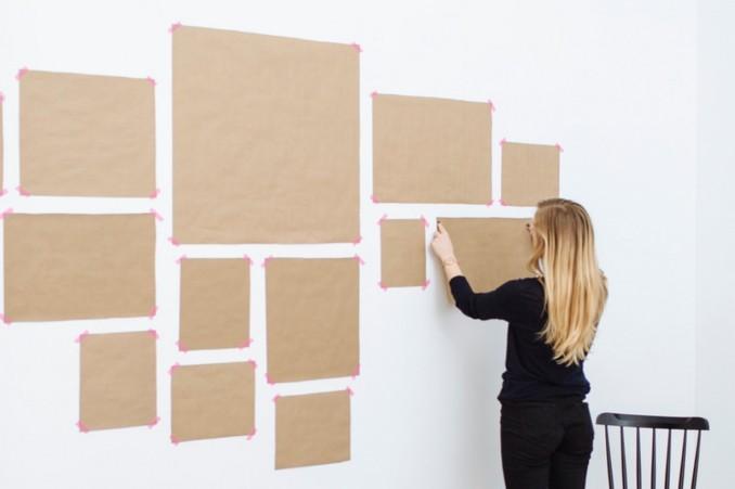 Подготовка шаблона из бумаги для развески картин