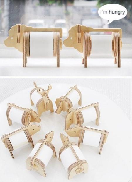 Деревянный держатель для туалетной бумаги в виде животных