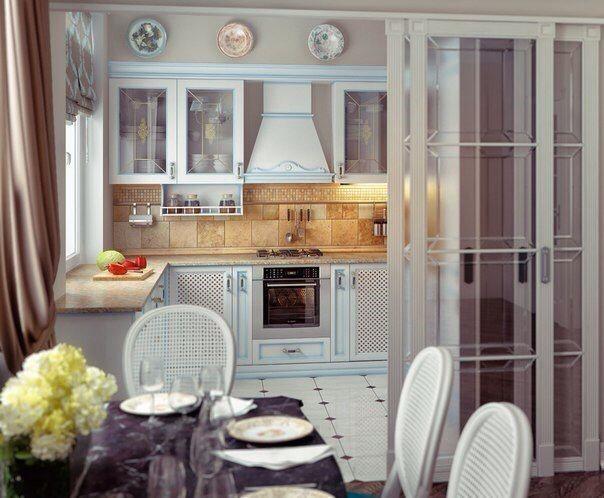 Присоединение кухни с газовой плитой к гостиной через раздвижные двери