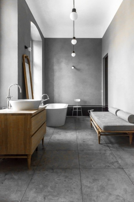 Ванная в сером цвете в стиле минимализм