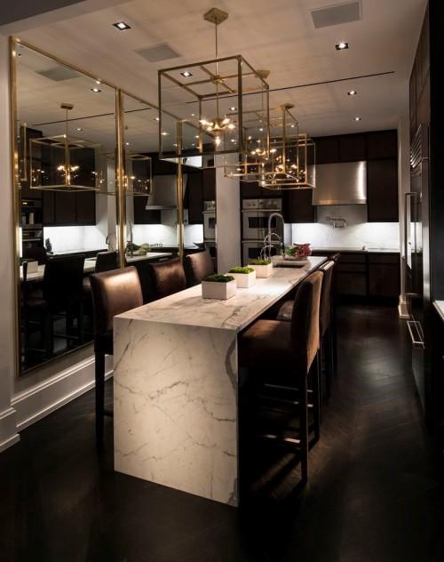 Темно коричневый интерьере кухни в стиле контемпорари