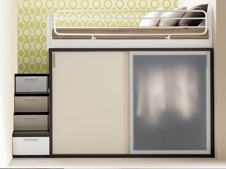 Кровать подиум совмещенная с платяным шкафом