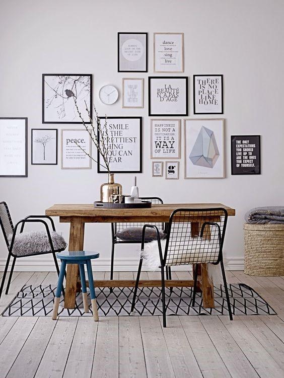 Картины в интерьере столовой в скандинавском стиле