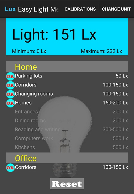 Результат измерения освещенности специальным приложением