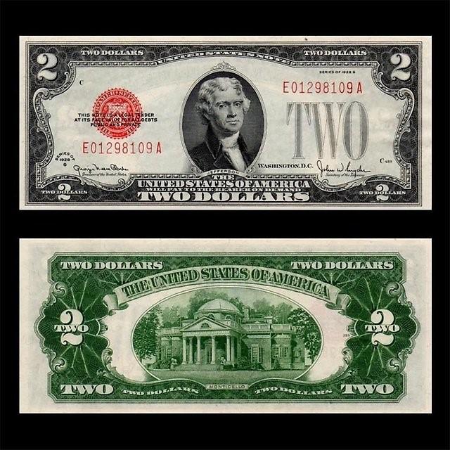 Купюра в 2 доллара с Джефферсоном и Монтичелло