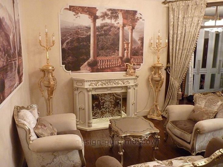 Выдвижной LCD телевизор в гостиной в классическом стиле