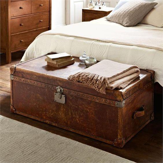 Старый дорожный сундук в изножье кровати