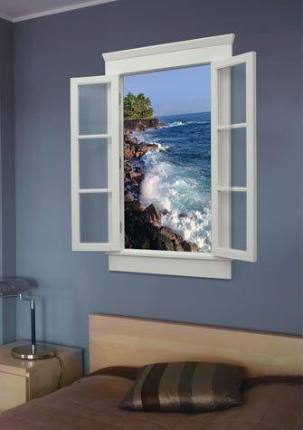 Имитация окна в интерьере при помощи фото обоев