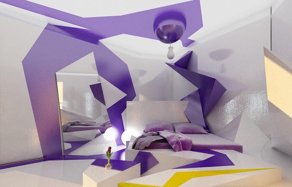 Странная спальня с геометрическим рисунком