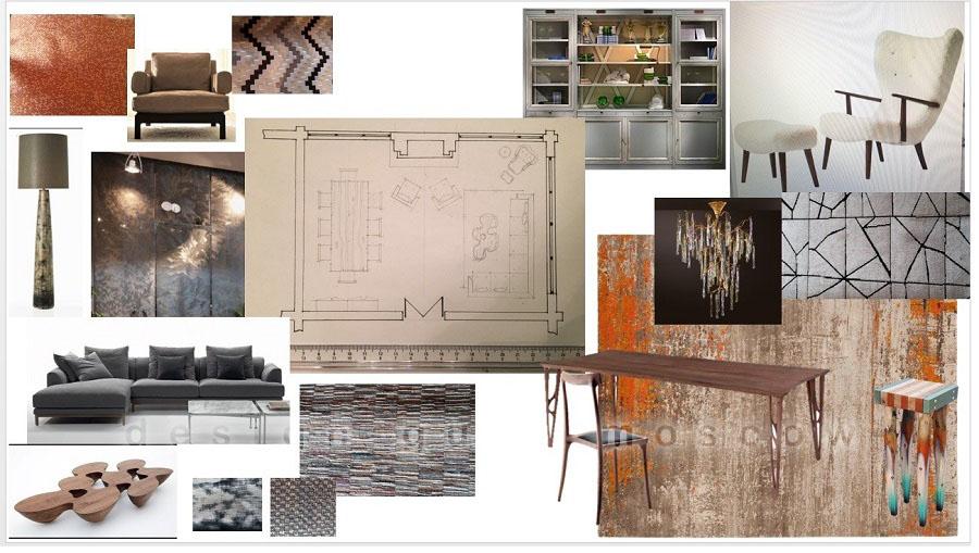 Коллаж дизайна интерьера