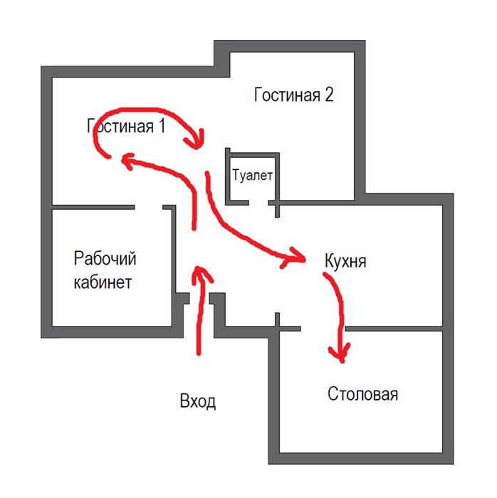 Маршрут движения гостей по дому. Плохая планировка дома.