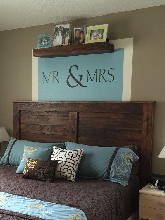 Украшение изголовья кровати в спальне