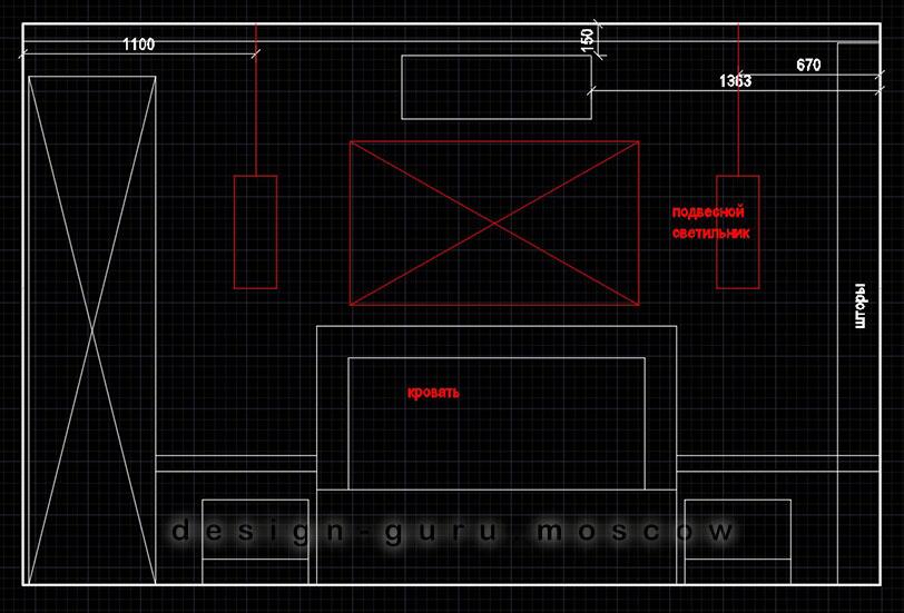 Дизайн проект интерьера спальни с кондиционером