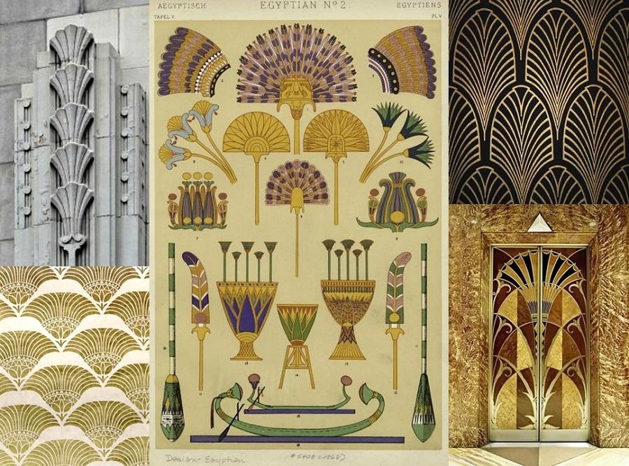 Традиционный декор Арт Деко в египетском стиле в виде веера-опахала