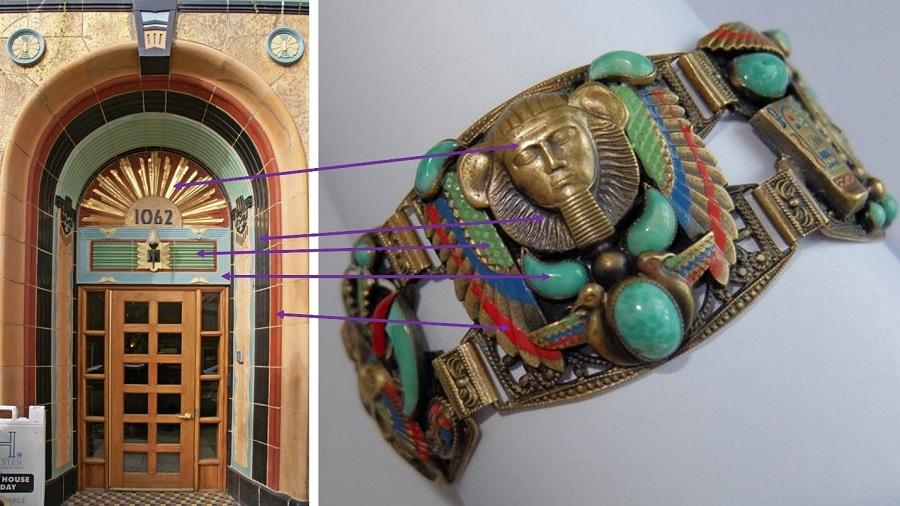 Соответствие цветовой палитры на здании в египетском стиле и на броши в египетском стиле