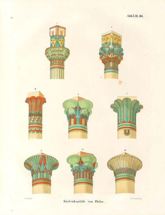 Цветовая палитра колонн в Древнем Египте