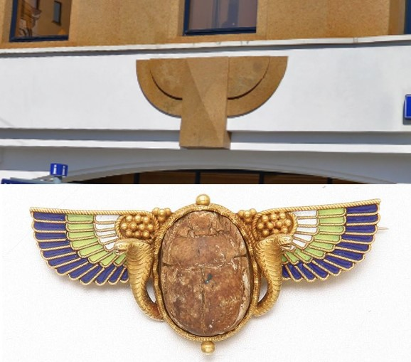 Египетский скарабей на фасаде здания. Ул. Балчуг 7. Москва