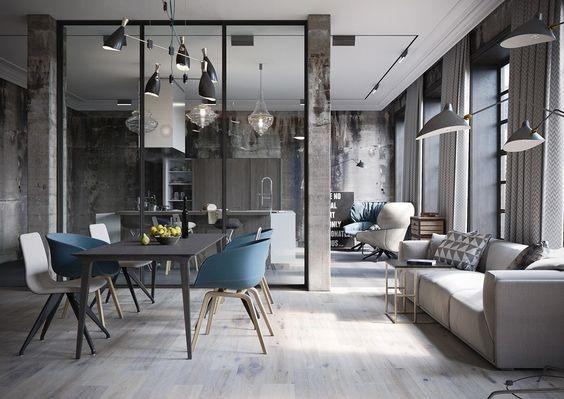 Современный интерьер столовой в квартире со стульями из разных коллекций