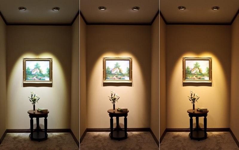 Сравнение освещения интерьера светильниками с различной цветовой температурой