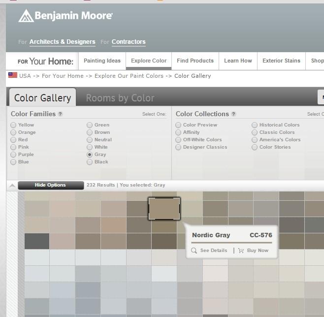 Принт скрин интернет сайта производителя красок Benjamin Moore