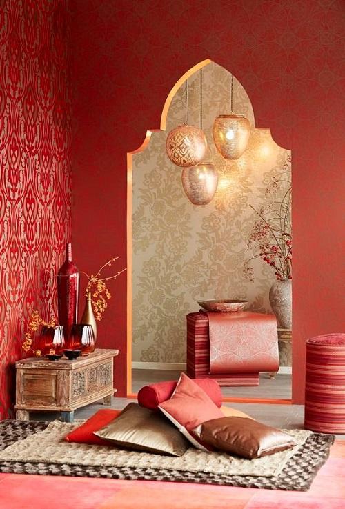 Арабский интерьер в красном цвете