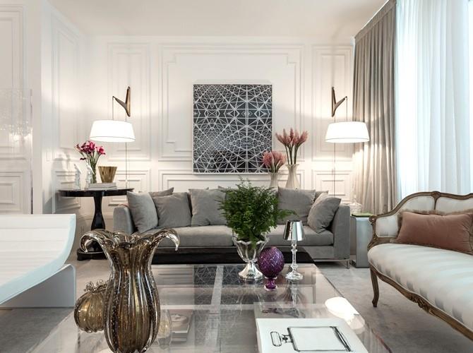 Современная гостиная с предметами мебели различных стилей