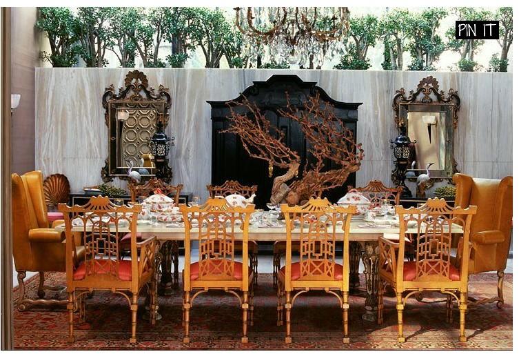 Столовая на веранде в китайском стиле от Kelly Wearstler