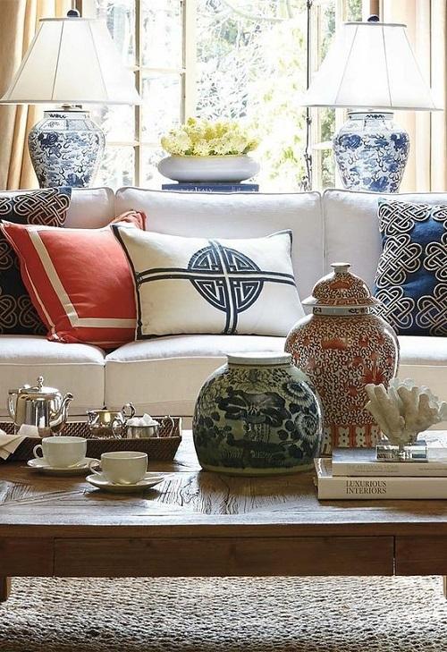 Текстиль и аксессуары в интерьере в китайском стиле