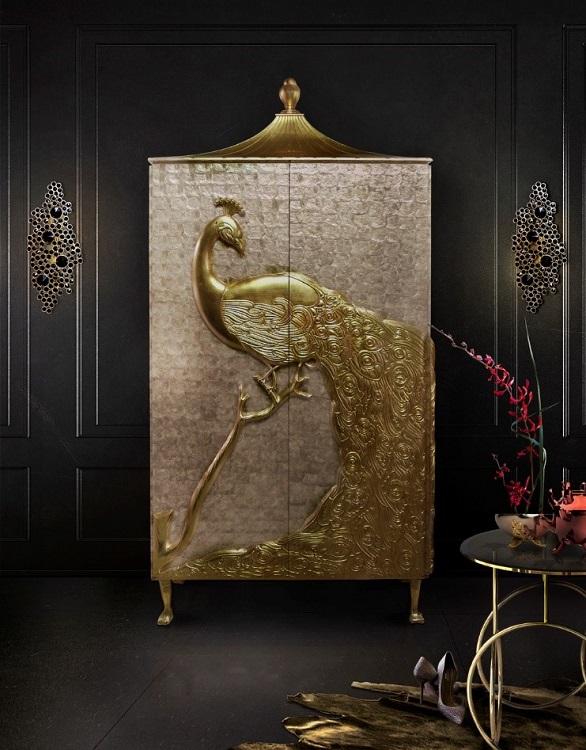 Дизайнерский комод с золотым павлином от Koket