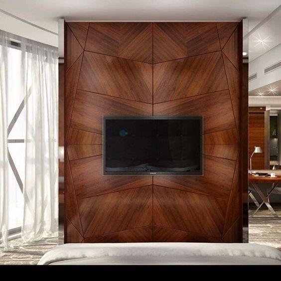 Интересный проект интерьера с использованием деревянных стеновых панелей