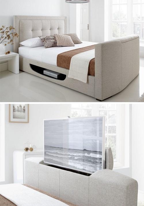 Телевизор встроенный в изножье кровати