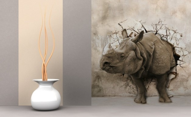 Носорог на 3Д фотообоях