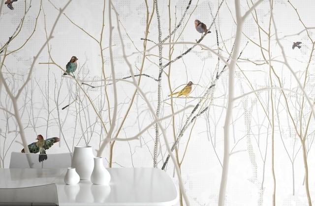 Фотообои с птицами на ветках
