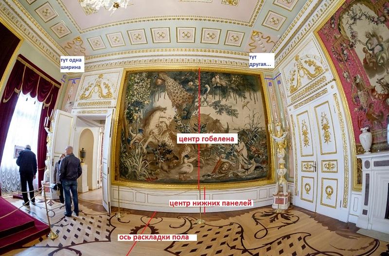 Отсутствие симметрии на противоположных стенах зала