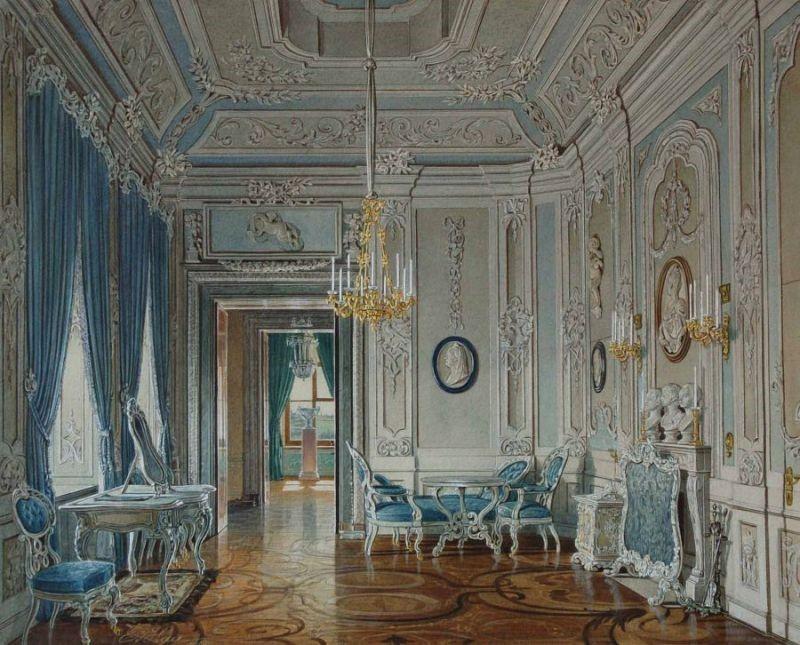 Акварель одного из залов дворца Павла Первого в Гатчине