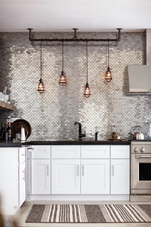Декор кухни при помощи подвесных светильников