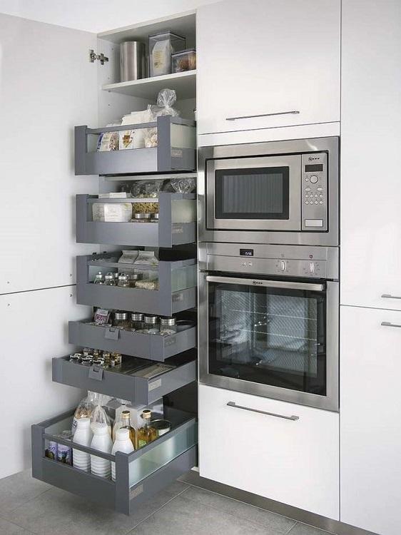 Выдвижные ящики в местах хранения на кухне