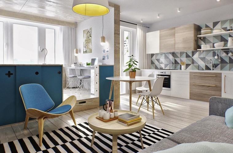 Современная небольшая квартира в светлых тонах