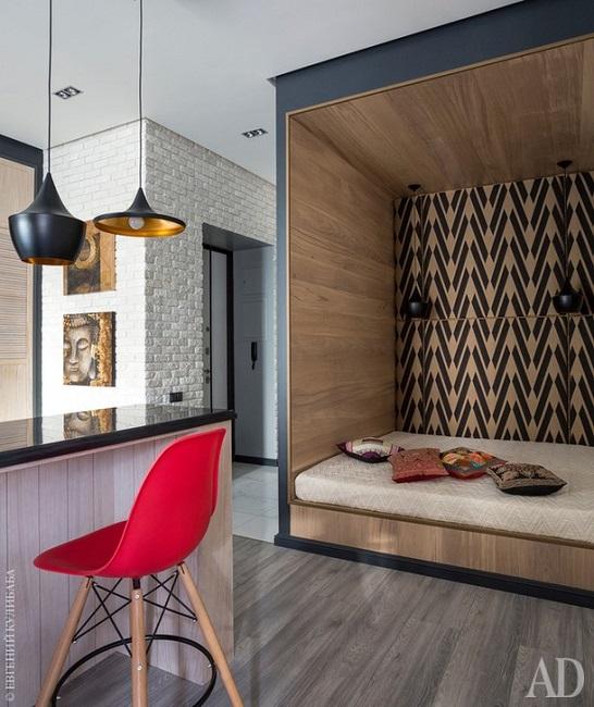 Маленькая квартира со встроенной мебелью