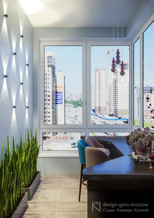 Дизайн балкона с барным местом