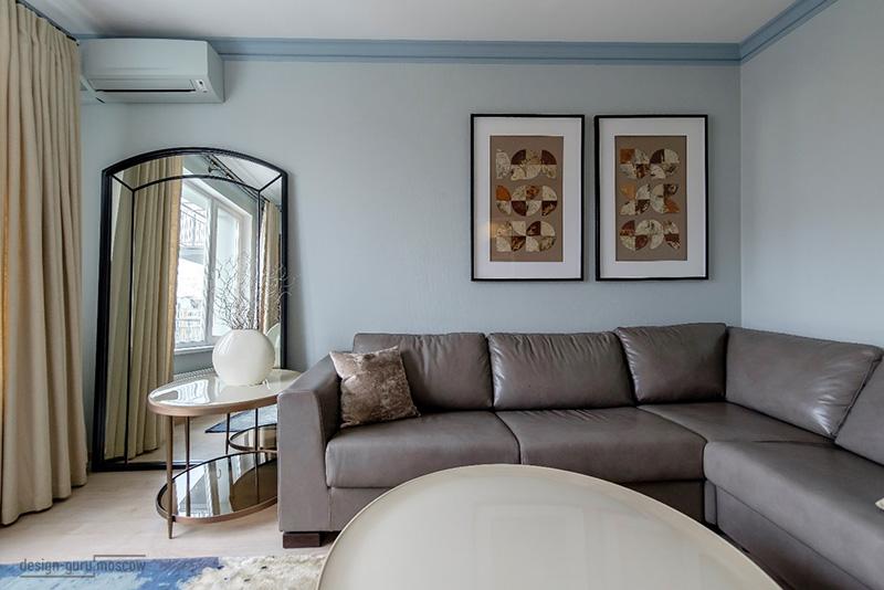 Проект гостиной в ЖК Митино Лайф в цветах 2018 года