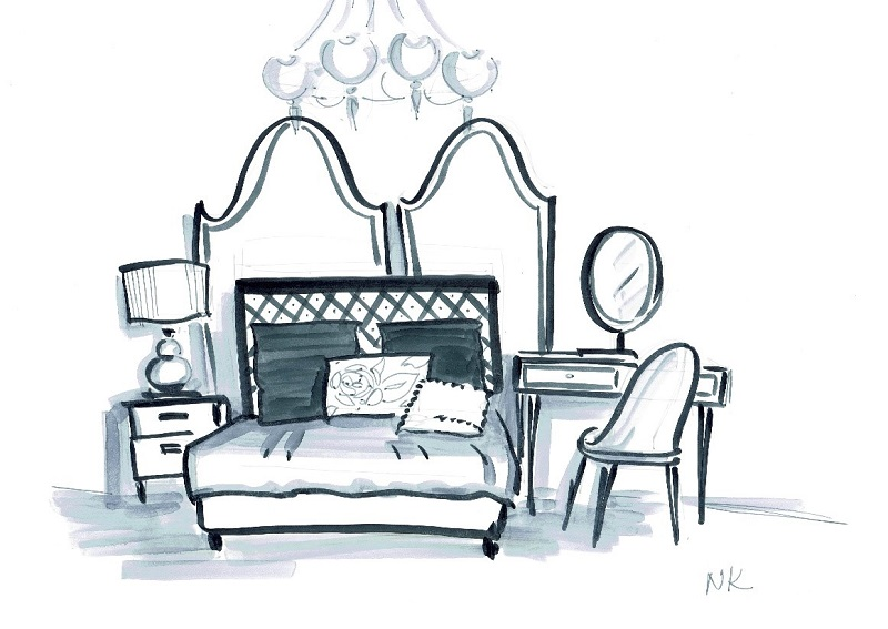 Ручной эскиз интерьера спальни