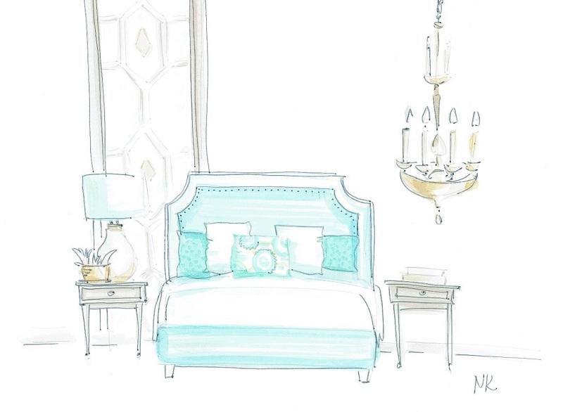 Визуализация размещения люстры рядом с кроватью, вместо лампы на тумбочке